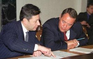 'Russia Today' creator Mikhail Lesin, pictured at right in 2000, was found dead in a Washington hotel room on Thursday.